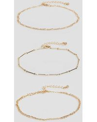 ASOS - Asos Design Curve Pack Of 3 Anklets With Multi Row Chains In Gold - Lyst