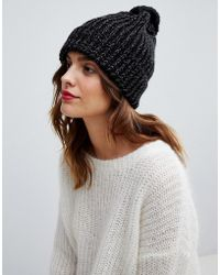 1c6a0ddfcfa Oasis - Ribbed Beanie Hat With Pom In Black - Lyst