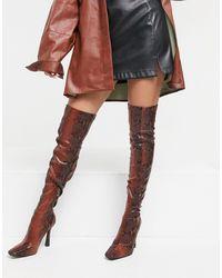 SIMMI Shoes Коричневые Ботфорты Со Змеиным Принтом Simmi London Minar-коричневый Цвет