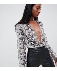 Missguided - Exclusive Tall Plunge Body In Snake Print - Lyst