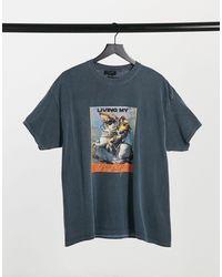 New Look Темно-синяя Oversized-футболка С Художественным Принтом -голубой - Синий