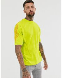 ASOS Organic Cotton Oversized T-shirt In Neon With Sleeve Print - Yellow