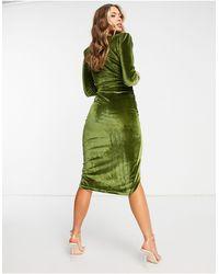 Naanaa Зеленое Бархатное Платье Миди С Глубоким Вырезом И Сборками -зеленый Цвет