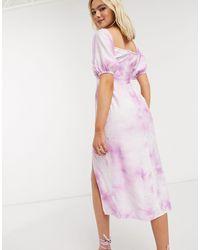 The East Order Vestido midi con abertura lateral y diseño teñido anudado en violeta - Rosa