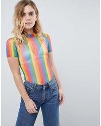 Daisy Street - High Neck Body In Rainbow Mesh - Lyst