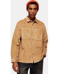 TOPMAN Светло-коричневая Вельветовая Рубашка Навыпуск -светло-бежевый - Коричневый