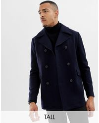 SELECTED Recycled Wool Peacoat - Blue