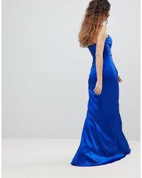 Bariano Bandeau Satin Maxi Dress - Blue