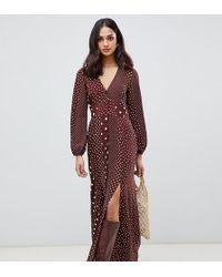 Miss Selfridge Maxi Dress With Blouson Sleeve In Mixed Polka Dot - Brown