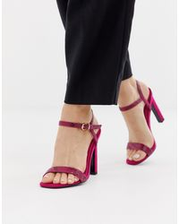 River Island Heeled Sandals In Pink