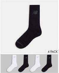 New Balance - Набор Из 4 Пар Носков До Середины Голени Черного И Белого Цвета -многоцветный - Lyst