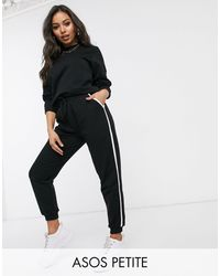ASOS Asos Design Petite Tracksuit Sweat / Basic jogger With Tie With Contrast Binding - Black