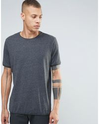 Weekday Dark T-shirt With Raw Edge In Gray