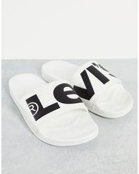 Levi's Белые Шлепанцы С Рифленым Логотипом -белый
