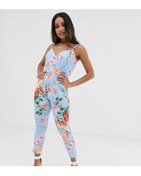 Boohoo Exclusive Cami Strap Jumpsuit In Blue Floral