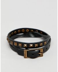 ASOS DESIGN - Double Wrap Leather Bracelet With Studs - Lyst