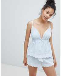 New Look - Woven Stripe Broderie Cami And Short Pyjama Set - Lyst