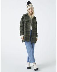 Pull&Bear - Куртка-рубашка Навыпуск Цвета Хаки В Клетку -зеленый - Lyst