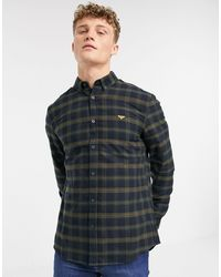 New Look Long Sleeve Check Shirt With Chest Embroidery - Blue