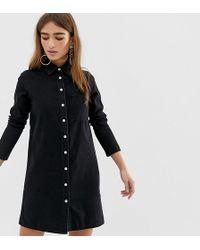 6b99a8573a6 ASOS - Asos Design Petite Denim Shirt Dress In Black - Lyst