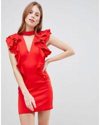 Glamorous - Frill Choker Neck Dress - Lyst