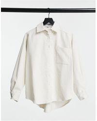 Sixth June Вельветовая Oversized-рубашка Кремового Цвета -белый