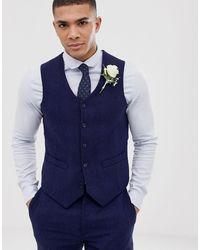 ASOS Wedding Skinny Suit Waistcoat - Blue