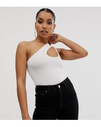 Boohoo Exclusive Slinky Body With Cut Out Detail In White