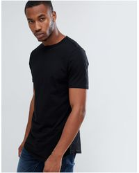 River Island Longline T-shirt With Curved Hem - Black
