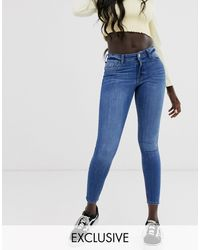 Miss Selfridge Mid Wash Skinny Jeans-black - Blue