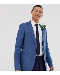 ASOS - Wedding - Smal Colbert In Ton-sur-ton Blauw - Lyst