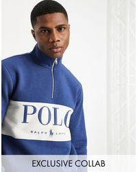 Polo Ralph Lauren Худи Темно-синего Цвета На Короткой Молнии, Со Вставкой С Логотипом На Груди X Asos-темно-синий
