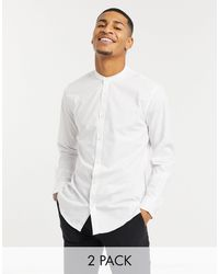 French Connection 2 Pack Grandad Slim Fit Formal Shirt - White