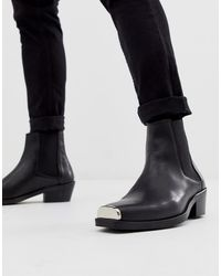 ASOS Cuban Heel Western Chelsea Boots In Black Leather With Metal Hardware