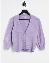 Noisy May - Cardigan With Puff Sleeves - Lyst