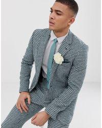 ASOS Slim Harris Tweed Suit Jacket In Teal And White Houndstooth - Green