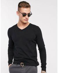 ASOS V-neck Cotton Sweater - Black
