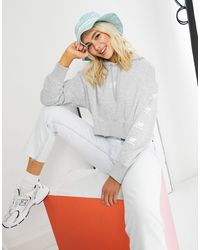 New Balance Stacked Logo Cropped Hoodie - Gray