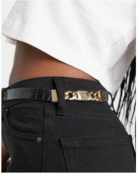 Miss Selfridge Chain Detail Belt - Black