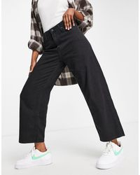 Lee Jeans High Rise Cropped Wide Leg Jeans - Black