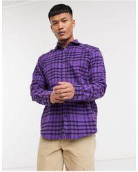 Pull&Bear Фиолетовая Рубашка В Клетку Pull & Bear-фиолетовый Цвет - Пурпурный
