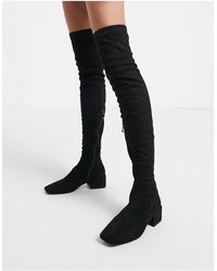 SIMMI Shoes Simmi London Lacey Over The Knee Boots - Black