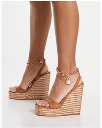 Public Desire Idolise Espadrille Wedge Sandals With Padlock Detail - Brown