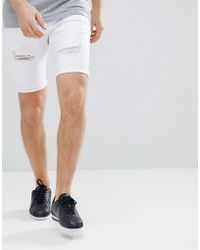 Kings Will Dream - Lummer Denim Shorts In White With Distressing - Lyst