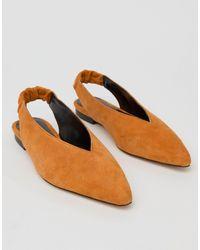 Gestuz Tan Suede Flat Slingback - Orange