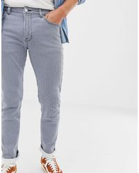 Brooklyn Supply Co. Skinny Fit Pleated Pinstripe Jeans - Blue