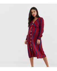New Look Stripe Button Through Dress - Red