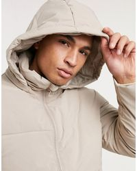 TOPMAN Recycled Puffer Jacket - Natural