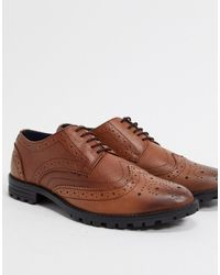 Redfoot Leather Chunky Sole Brogue Shoes - Brown