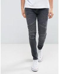 River Island - Super Skinny Biker Jeans In Washed Black - Lyst